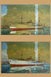 Restaurations de tableaux,Marine en cours de dévernissage